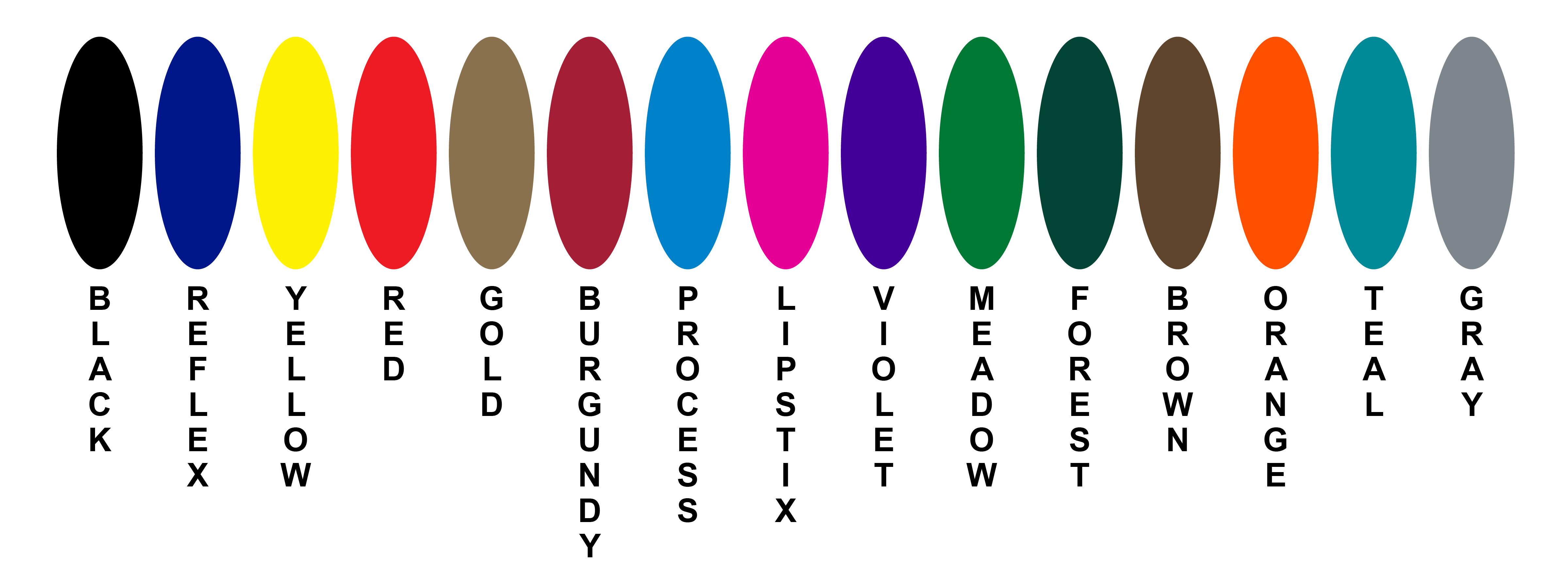 Standard Ink Color Options