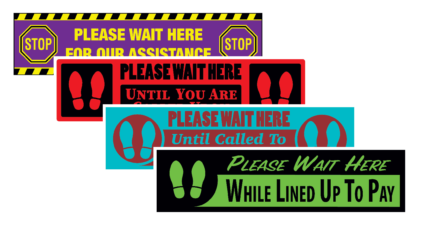 Rectangle Wait Here Floor Signs